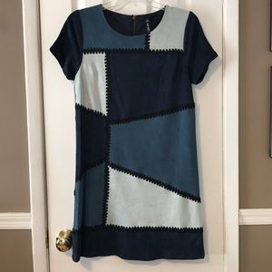Design lab blue patch suede like s/s dress